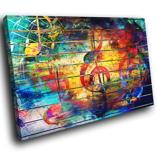 AB1725A Framed Canvas Print Colourful Modern Abstract Wall Art - music yellow clef wall-Canvas Print-WhatsOnYourWall