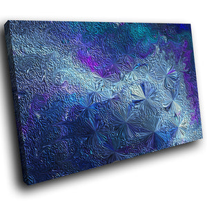 AB1726A Framed Canvas Print Colourful Modern Abstract Wall Art - blue fractal texture effect-Canvas Print-WhatsOnYourWall