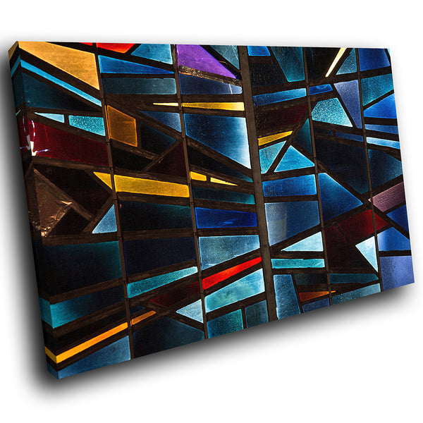 AB1727A Framed Canvas Print Colourful Modern Abstract Wall Art - blue ystained effect-Canvas Print-WhatsOnYourWall