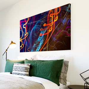 AB1728A Framed Canvas Print Colourful Modern Abstract Wall Art -  blue orange light - WhatsOnYourWall