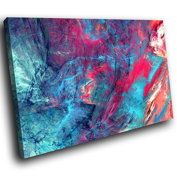 AB1729A Framed Canvas Print Colourful Modern Abstract Wall Art - blue pink textured effect-Canvas Print-WhatsOnYourWall