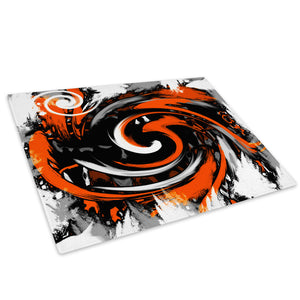 Orange Black Spiral Glass Chopping Board Kitchen Worktop Saver Protector - AB172-Abstract Chopping Board-WhatsOnYourWall