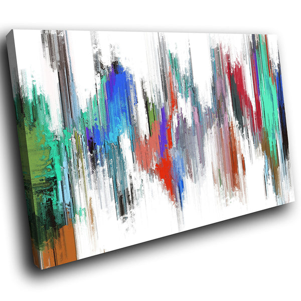 AB1732A Framed Canvas Print Colourful Modern Abstract Wall Art - blue red green paint-Canvas Print-WhatsOnYourWall