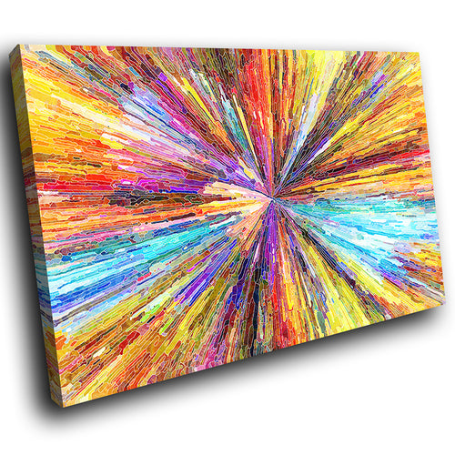 AB1733A Framed Canvas Print Colourful Modern Abstract Wall Art - yellow blue zoom paint-Canvas Print-WhatsOnYourWall