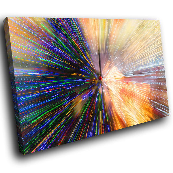 AB1734A Framed Canvas Print Colourful Modern Abstract Wall Art - blue yellow glow zoom-Canvas Print-WhatsOnYourWall