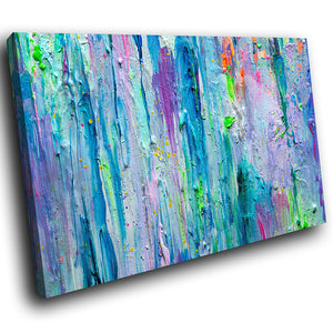 AB1735A Framed Canvas Print Colourful Modern Abstract Wall Art - blue textured paint effect-Canvas Print-WhatsOnYourWall