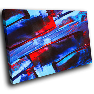 AB1736A Framed Canvas Print Colourful Modern Abstract Wall Art -  blue red textured paint - WhatsOnYourWall