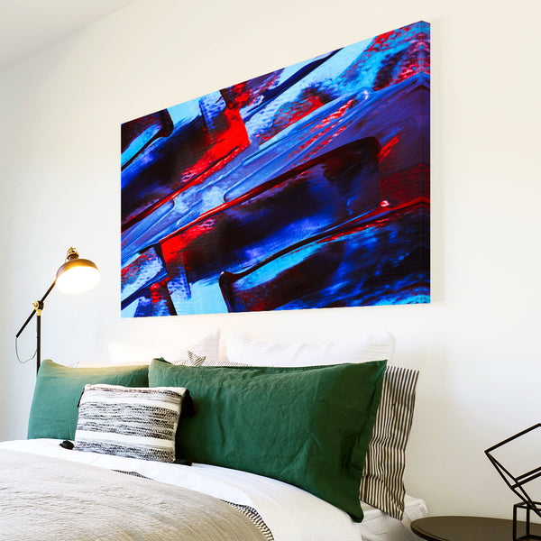 AB1736A Framed Canvas Print Colourful Modern Abstract Wall Art - blue red textured paint-Canvas Print-WhatsOnYourWall