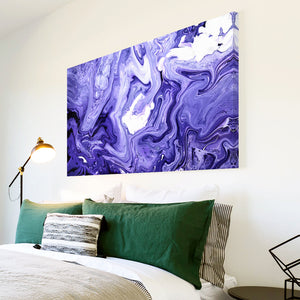 AB1738A Framed Canvas Print Colourful Modern Abstract Wall Art - blue white paint swirl-Canvas Print-WhatsOnYourWall