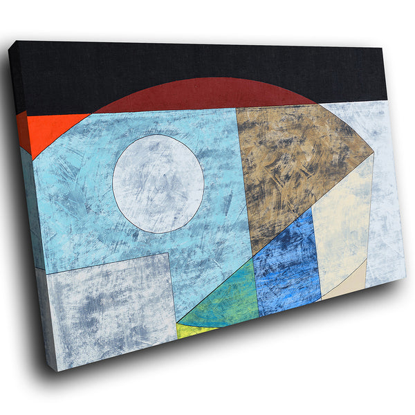 AB1740A Framed Canvas Print Colourful Modern Abstract Wall Art - blue cubism red black-Canvas Print-WhatsOnYourWall