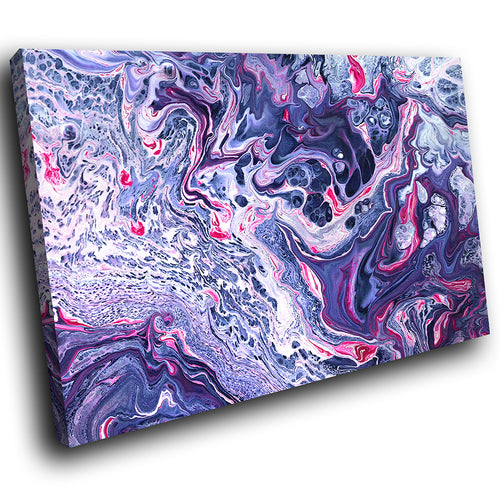 AB1741A Framed Canvas Print Colourful Modern Abstract Wall Art - purple paint swirl effect-Canvas Print-WhatsOnYourWall