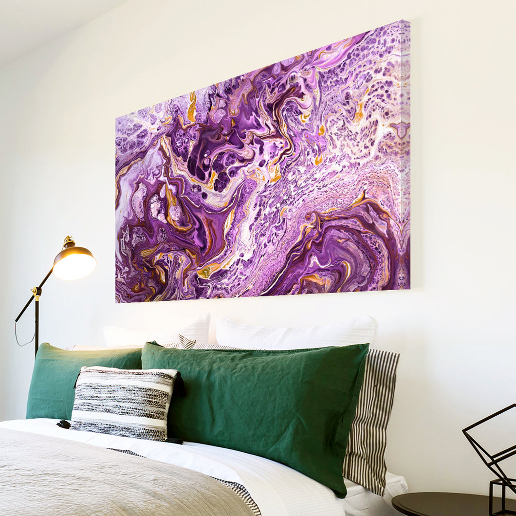 AB1742A Framed Canvas Print Colourful Modern Abstract Wall Art - purple paint swirl effect-Canvas Print-WhatsOnYourWall