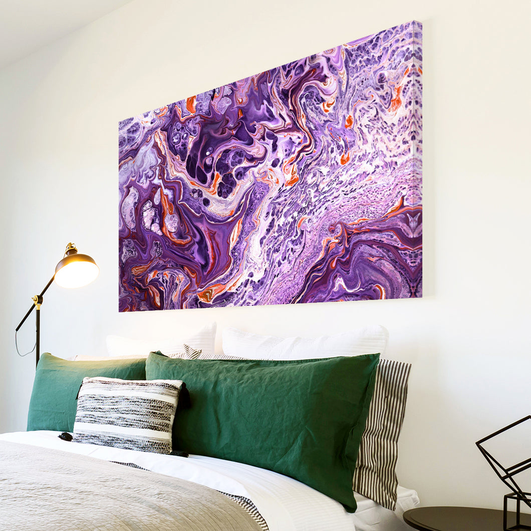 AB1743A Framed Canvas Print Colourful Modern Abstract Wall Art - purple paint swirl effect-Canvas Print-WhatsOnYourWall