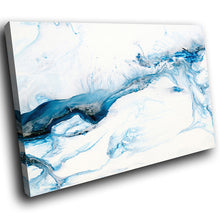 AB1744A Framed Canvas Print Colourful Modern Abstract Wall Art - blue paint white swirl-Canvas Print-WhatsOnYourWall