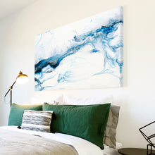AB1744A Framed Canvas Print Colourful Modern Abstract Wall Art -  blue paint white swirl - WhatsOnYourWall