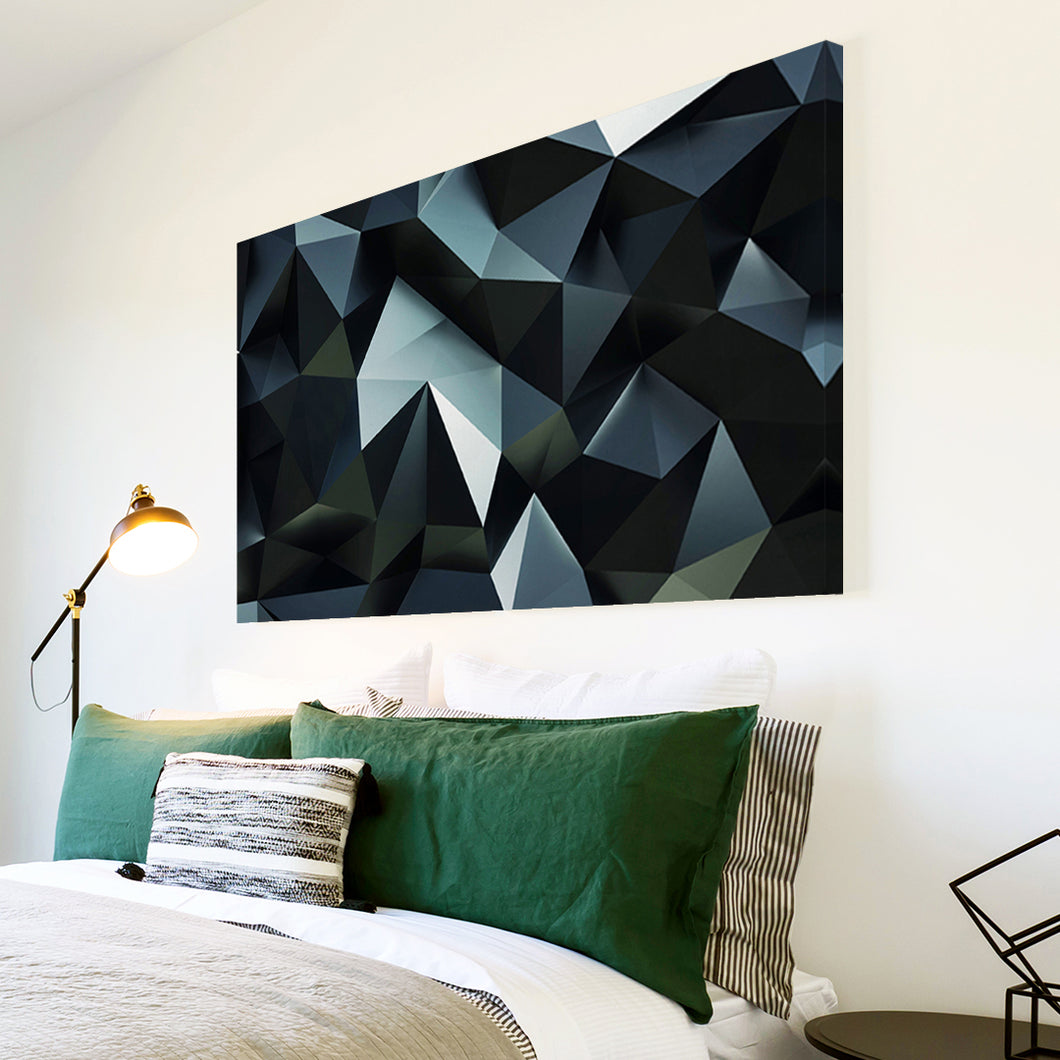 AB1745A Framed Canvas Print Colourful Modern Abstract Wall Art - black grey geometric-Canvas Print-WhatsOnYourWall