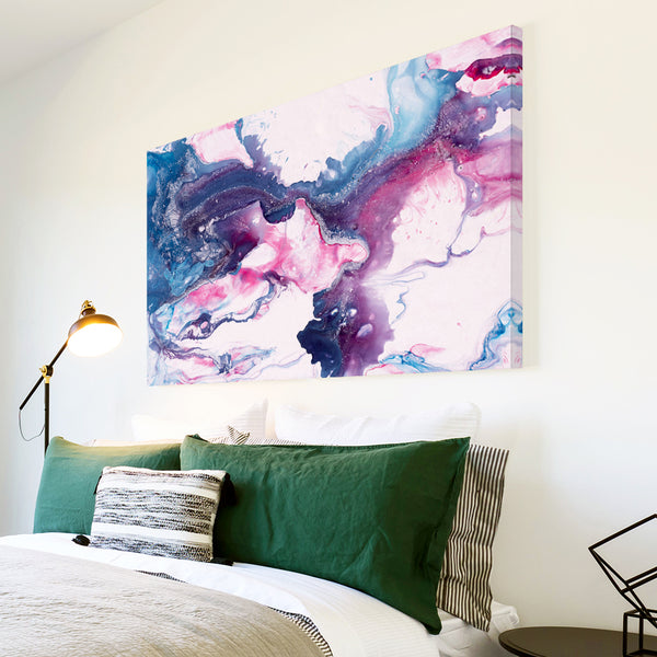 AB1746A Framed Canvas Print Colourful Modern Abstract Wall Art - blue pink paint swirl-Canvas Print-WhatsOnYourWall