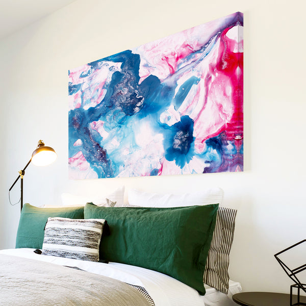 AB1747A Framed Canvas Print Colourful Modern Abstract Wall Art - blue pink paint-Canvas Print-WhatsOnYourWall