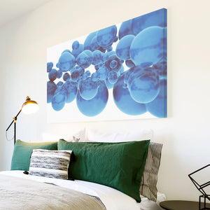 AB1748A Framed Canvas Print Colourful Modern Abstract Wall Art -  blue 3d bubbles - WhatsOnYourWall