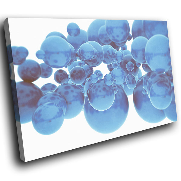 AB1748A Framed Canvas Print Colourful Modern Abstract Wall Art - blue 3d bubbles-Canvas Print-WhatsOnYourWall