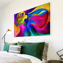 AB1749A Framed Canvas Print Colourful Modern Abstract Wall Art - pink yellow psychedelic-Canvas Print-WhatsOnYourWall