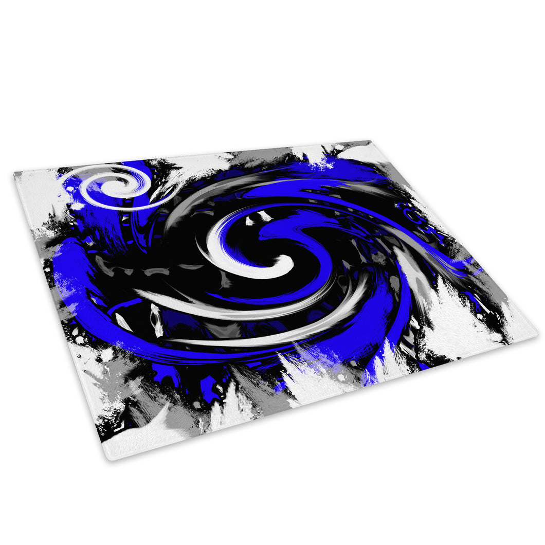 Blue Black Spiral Glass Chopping Board Kitchen Worktop Saver Protector - AB174-Abstract Chopping Board-WhatsOnYourWall