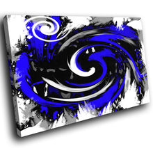 AB174 Framed Canvas Print Colourful Modern Abstract Wall Art - Blue Black Spiral-Canvas Print-WhatsOnYourWall