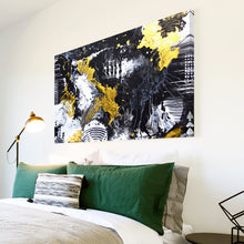 AB1751A Framed Canvas Print Colourful Modern Abstract Wall Art -  black yellow grunge paint - WhatsOnYourWall