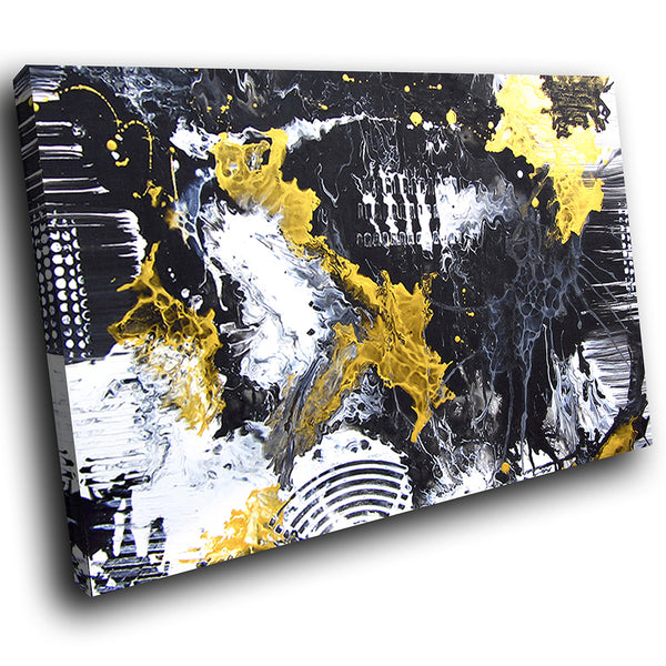 AB1751A Framed Canvas Print Colourful Modern Abstract Wall Art - black yellow grunge paint-Canvas Print-WhatsOnYourWall