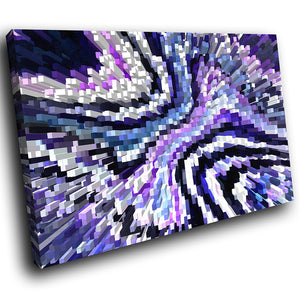 AB1752A Framed Canvas Print Colourful Modern Abstract Wall Art -  blue 3d geometric pattern - WhatsOnYourWall