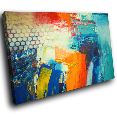 AB1753A Framed Canvas Print Colourful Modern Abstract Wall Art - orange blue textured paint-Canvas Print-WhatsOnYourWall