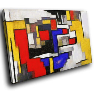 AB1754A Framed Canvas Print Colourful Modern Abstract Wall Art - red blue cubism squares-Canvas Print-WhatsOnYourWall