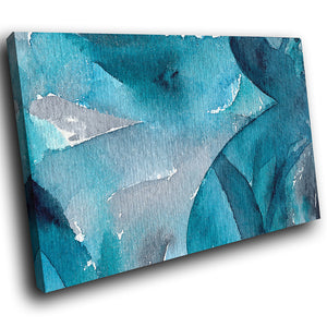 AB1755A Framed Canvas Print Colourful Modern Abstract Wall Art - blue watercolour aged paint-Canvas Print-WhatsOnYourWall