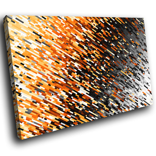 AB1756A Framed Canvas Print Colourful Modern Abstract Wall Art - orange black geometric-Canvas Print-WhatsOnYourWall