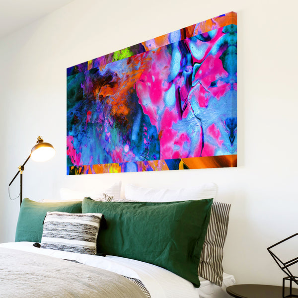 AB1757A Framed Canvas Print Colourful Modern Abstract Wall Art - pink blue paint effect-Canvas Print-WhatsOnYourWall