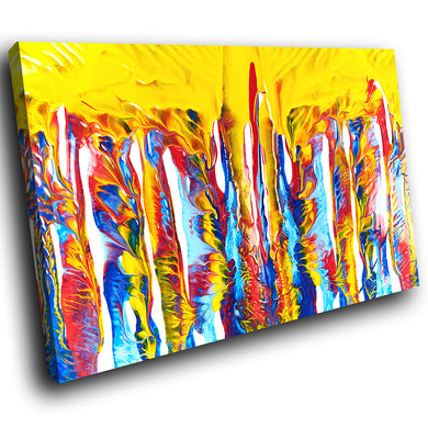AB1759A Framed Canvas Print Colourful Modern Abstract Wall Art -  yellow drip paint effect - WhatsOnYourWall