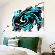 AB175 Framed Canvas Print Colourful Modern Abstract Wall Art - Cyan Black Spiral-Canvas Print-WhatsOnYourWall