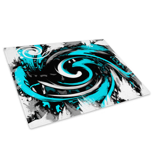 Cyan Black Spiral Glass Chopping Board Kitchen Worktop Saver Protector - AB175-Abstract Chopping Board-WhatsOnYourWall
