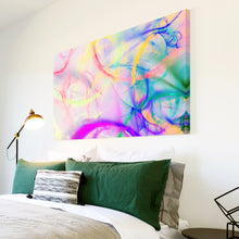 AB1760A Framed Canvas Print Colourful Modern Abstract Wall Art - pink blue watercolour paint-Canvas Print-WhatsOnYourWall