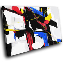 AB1763A Framed Canvas Print Colourful Modern Abstract Wall Art - blue red white pop-Canvas Print-WhatsOnYourWall