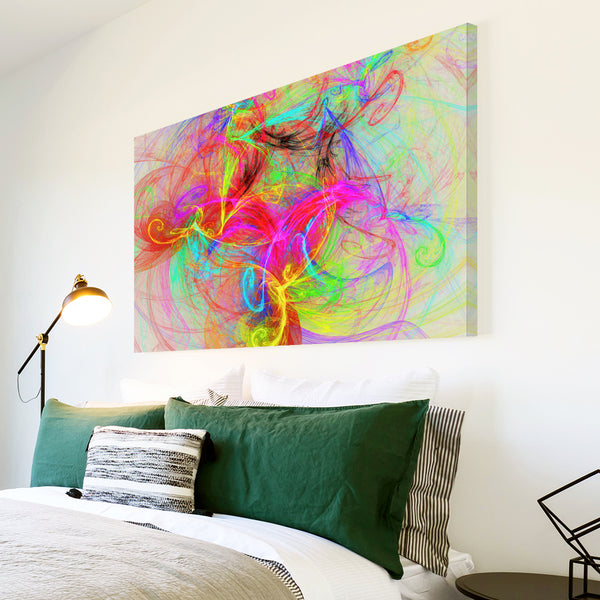 AB1764A Framed Canvas Print Colourful Modern Abstract Wall Art - pink blue yellow-Canvas Print-WhatsOnYourWall