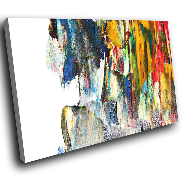 AB1765A Framed Canvas Print Colourful Modern Abstract Wall Art - yellow texture paint effect-Canvas Print-WhatsOnYourWall