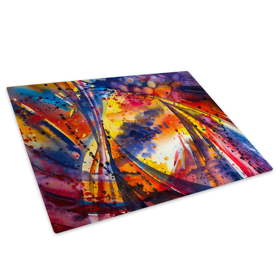 Retro Colourful Cool Glass Chopping Board Kitchen Worktop Saver Protector - AB1766-Abstract Chopping Board-WhatsOnYourWall