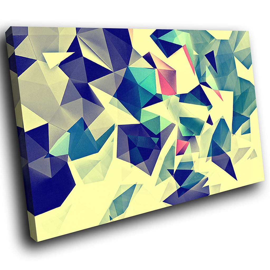 AB1768A Framed Canvas Print Colourful Modern Abstract Wall Art - blue geometric-Canvas Print-WhatsOnYourWall