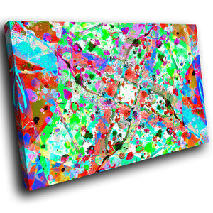 AB1769A Framed Canvas Print Colourful Modern Abstract Wall Art -  blue red paint splat effect