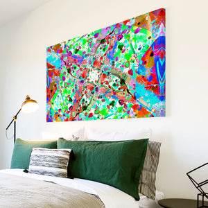 AB1769A Framed Canvas Print Colourful Modern Abstract Wall Art - blue red paint splat effect-Canvas Print-WhatsOnYourWall