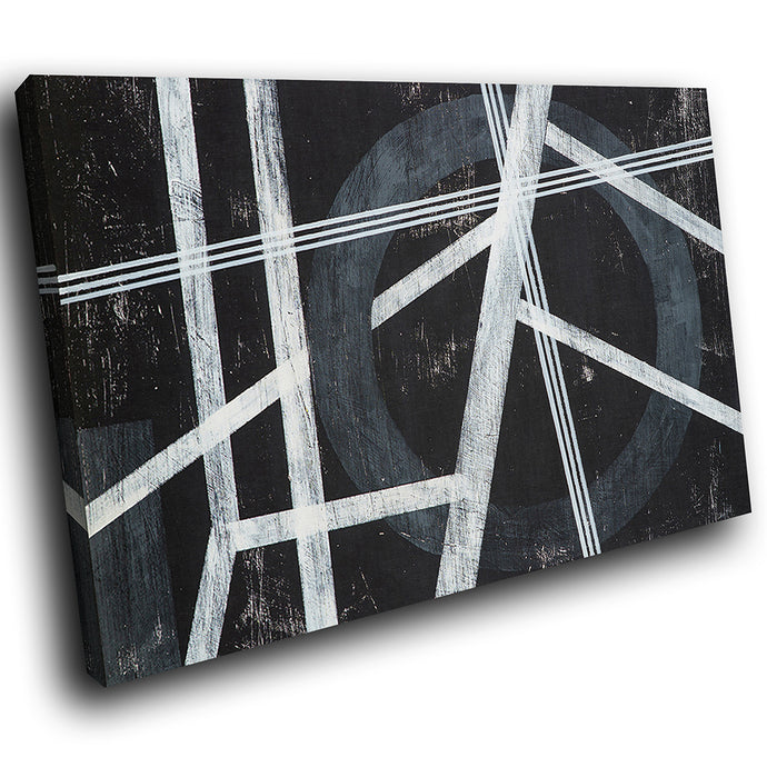 AB1770A Framed Canvas Print Colourful Modern Abstract Wall Art -  black white line