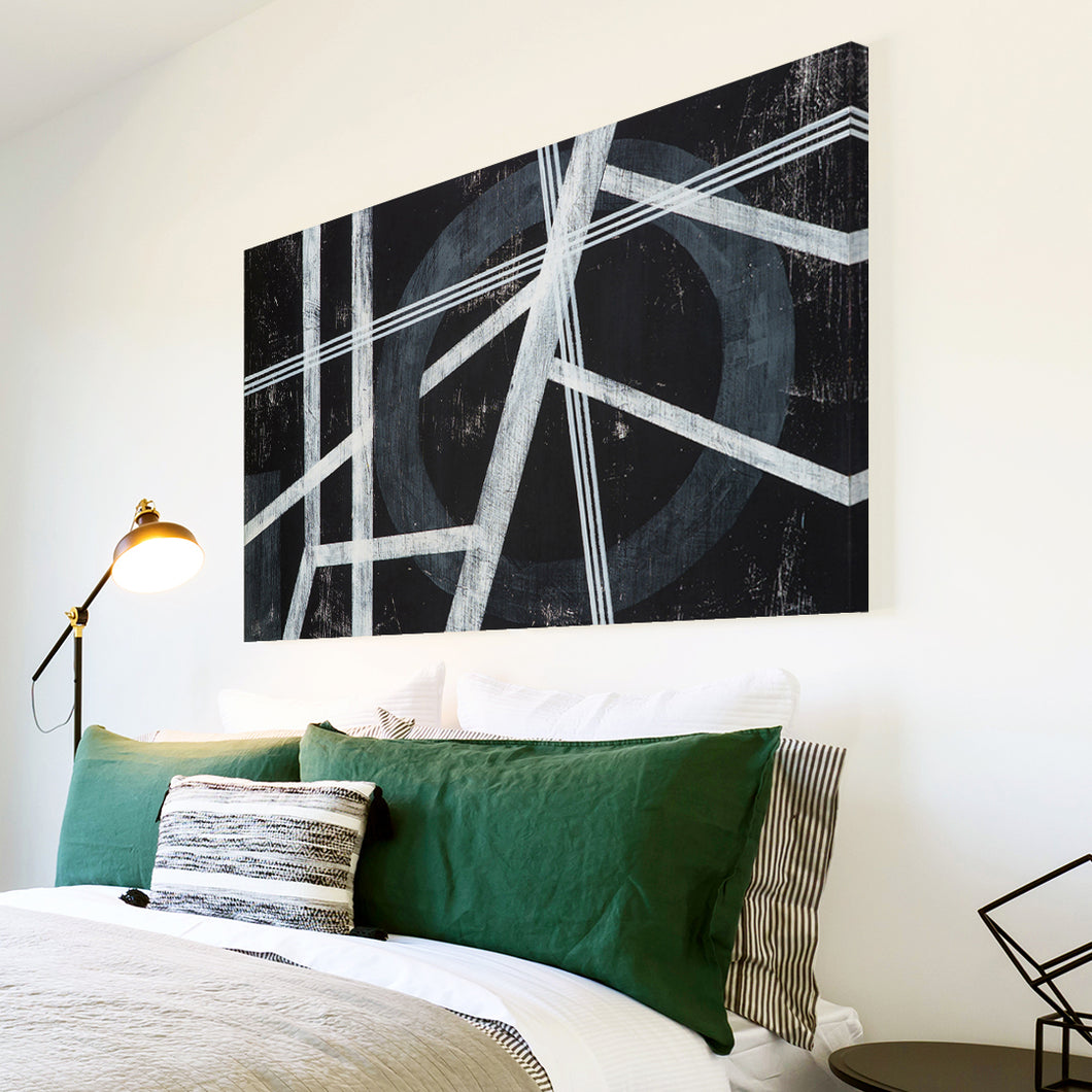 AB1770A Framed Canvas Print Colourful Modern Abstract Wall Art - black white line-Canvas Print-WhatsOnYourWall