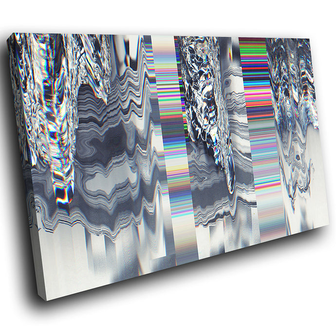 AB1771A Framed Canvas Print Colourful Modern Abstract Wall Art -  glitch grey pattern white