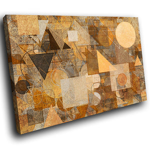 AB1773A Framed Canvas Print Colourful Modern Abstract Wall Art - brown aged paper-Canvas Print-WhatsOnYourWall